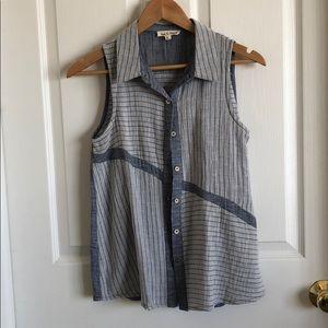 Chambray sleeveless blouse